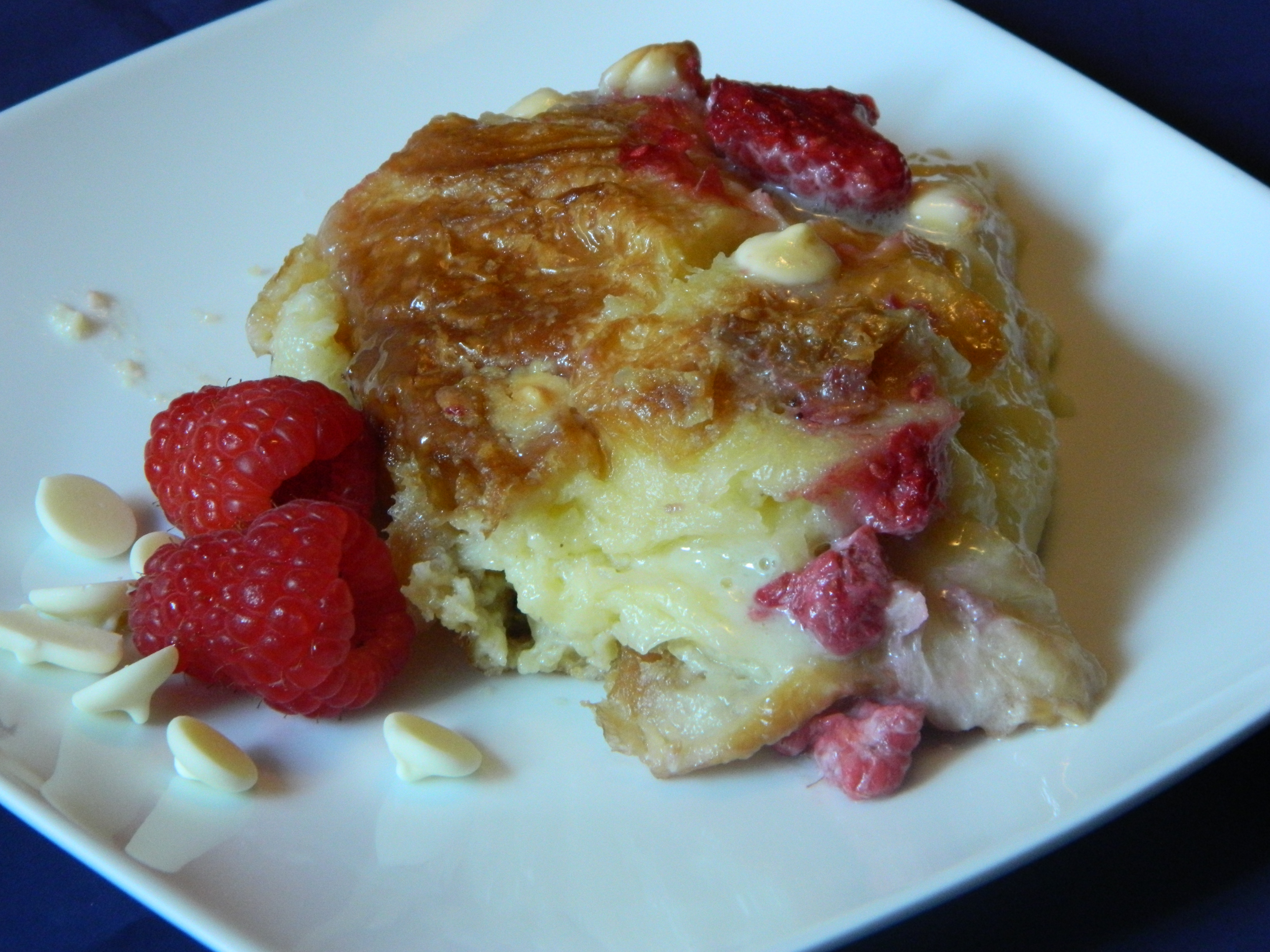 ... White Chocolate Raspberry Croissant Bread Pudding « ThreeSquareMeals
